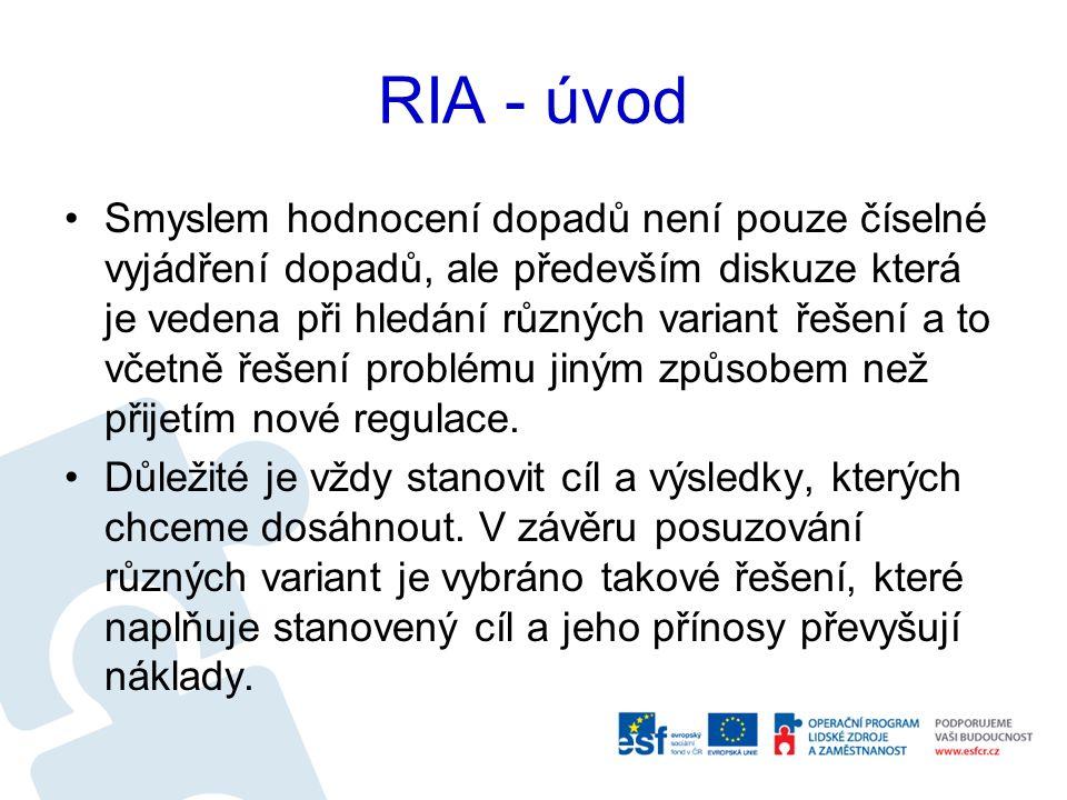 RIA - úvod Smyslem hodnocení dopadů není pouze číselné vyjádření dopadů, ale především diskuze která je vedena při hledání různých variant řešení a to včetně řešení problému jiným způsobem než přijetím nové regulace.