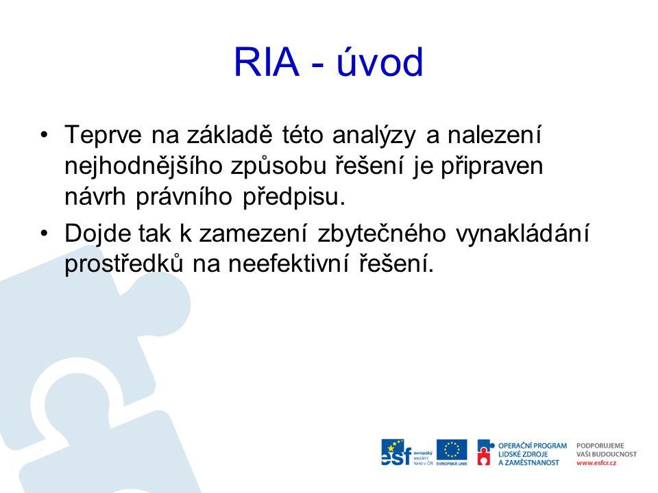 Počátky RIA v České republice Následný proces implementace hodnocení dopadů regulace v ČR prochází několika etapami: V první fázi končící rokem 2006 došlo ke schválení návrhu Směrnice pro hodnocení dopadů regulace.
