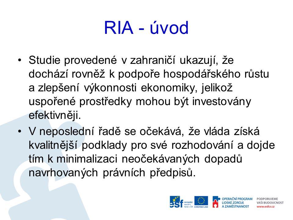 RIA - úvod Studie provedené v zahraničí ukazují, že dochází rovněž k podpoře hospodářského růstu a zlepšení výkonnosti ekonomiky, jelikož uspořené prostředky mohou být investovány efektivněji.