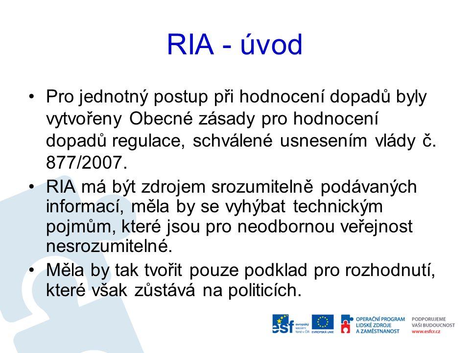 RIA - úvod Pro jednotný postup při hodnocení dopadů byly vytvořeny Obecné zásady pro hodnocení dopadů regulace, schválené usnesením vlády č.