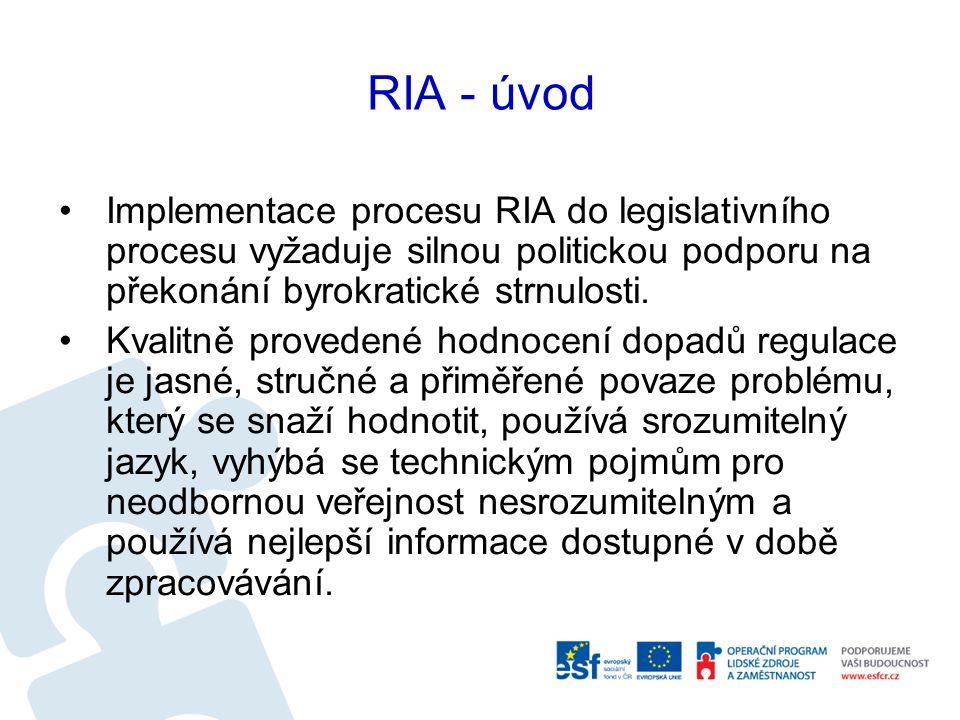 RIA - úvod Je samostatným dokumentem, který dokáže problém jasně vysvětlit, nastínit možné alternativy k přijetí regulace bez potřeby odkazovat se na další dokumenty.