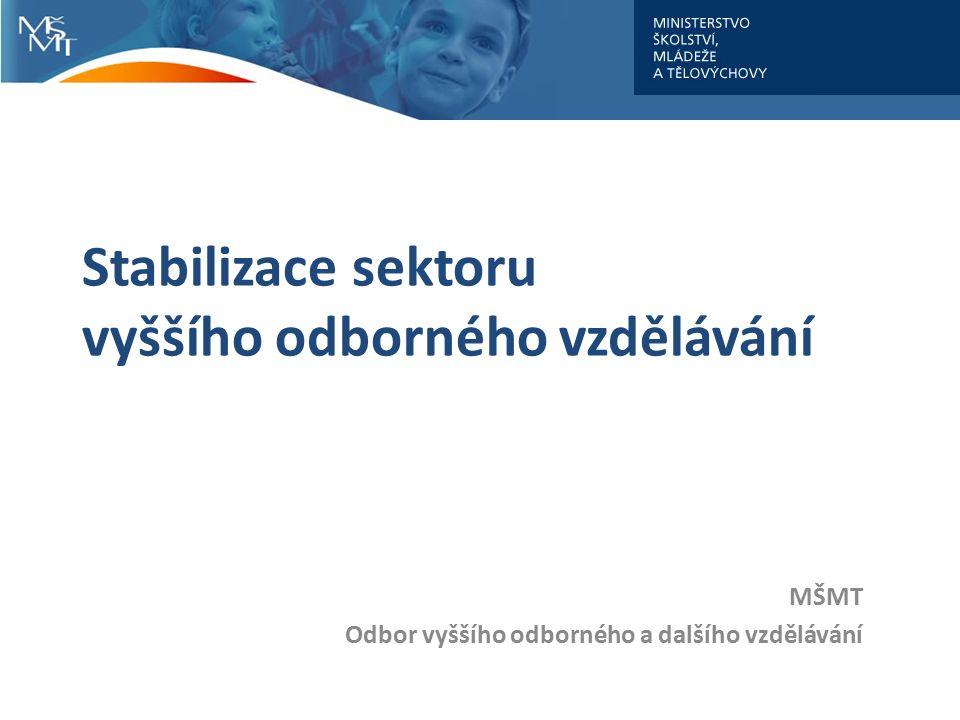 Stabilizace sektoru vyššího odborného vzdělávání MŠMT Odbor vyššího odborného a dalšího vzdělávání