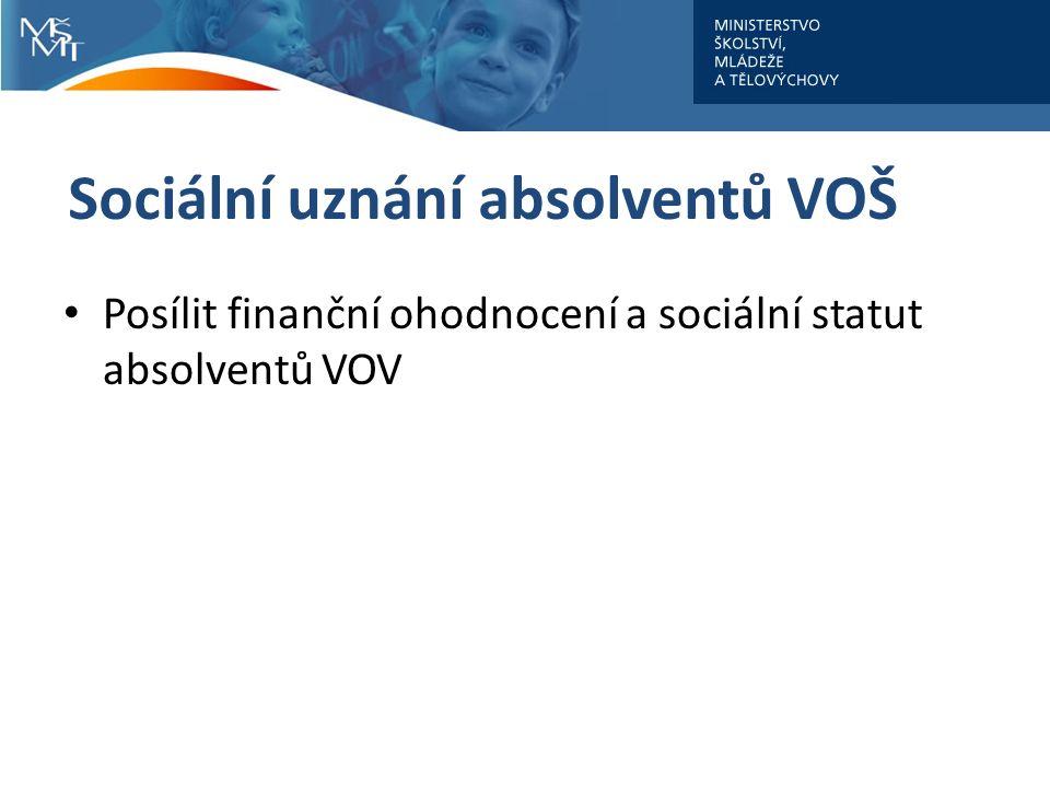 Sociální uznání absolventů VOŠ Posílit finanční ohodnocení a sociální statut absolventů VOV