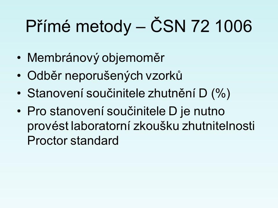 Přímé metody – ČSN 72 1006 Membránový objemoměr Odběr neporušených vzorků Stanovení součinitele zhutnění D (%) Pro stanovení součinitele D je nutno provést laboratorní zkoušku zhutnitelnosti Proctor standard