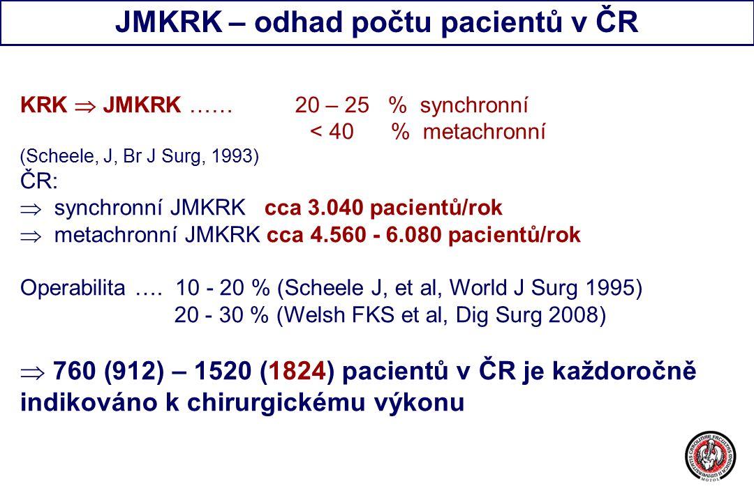 JMKRK – odhad počtu pacientů v ČR KRK  JMKRK …… 20 – 25 % synchronní < 40 % metachronní (Scheele, J, Br J Surg, 1993) ČR:  synchronní JMKRK cca 3.040 pacientů/rok  metachronní JMKRK cca 4.560 - 6.080 pacientů/rok Operabilita ….