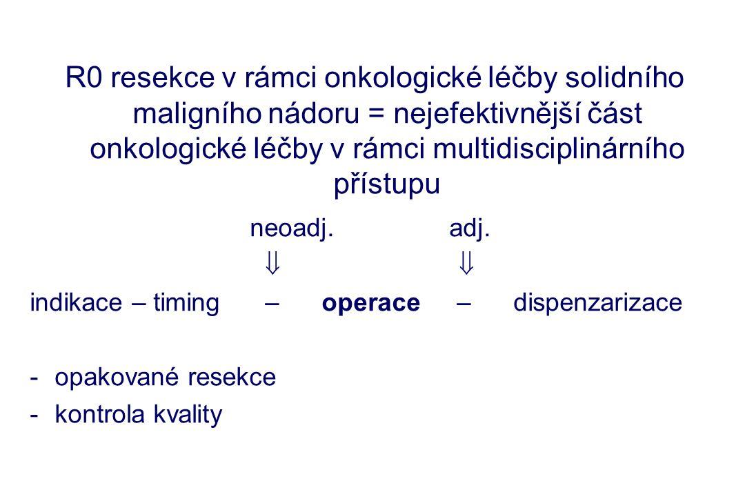 Návrh bodů programu 1 – pacient s KRK bude vyšetřen pro potencionální JMKRK (+ extrahepatické metastázy) 2 – ošetření KRK v souladu s klinickou praxí v ČR (standardem) 3 – dispenzarizace všech nemocných s KRK – viz protokol dispenzáře 4 – při zjištění JMKRK provedení PET a odeslání nemocného do specializovaných center 5 – stanovení strategie léčby multioborovým indikačním týmem (chirurg, onkolog, gastroenterolog, rentgenolog) 6 – ošetření nemocného s JMKRK v souladu se standardem KKCCS0009 7 – dispenzarizace nemocných s JMKRK je celoživotní