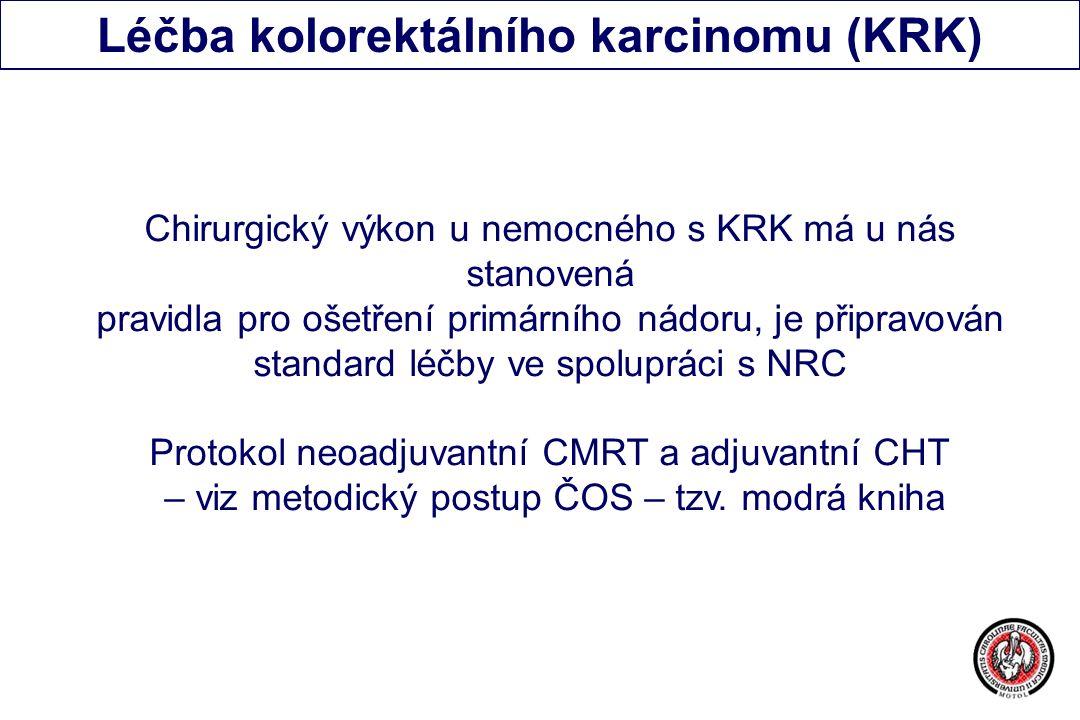 Léčba kolorektálního karcinomu (KRK) Chirurgický výkon u nemocného s KRK má u nás stanovená pravidla pro ošetření primárního nádoru, je připravován standard léčby ve spolupráci s NRC Protokol neoadjuvantní CMRT a adjuvantní CHT – viz metodický postup ČOS – tzv.