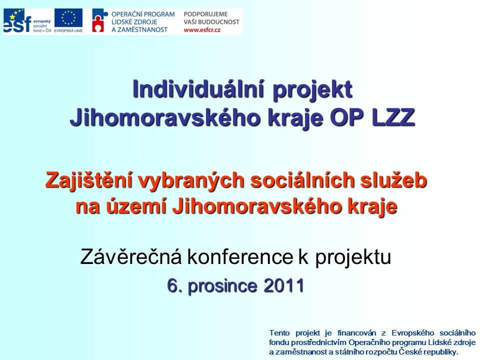 Individuální projekt Jihomoravského kraje OP LZZ Tento projekt je financován z Evropského sociálního fondu prostřednictvím Operačního programu Lidské zdroje a zaměstnanost a státního rozpočtu České republiky.