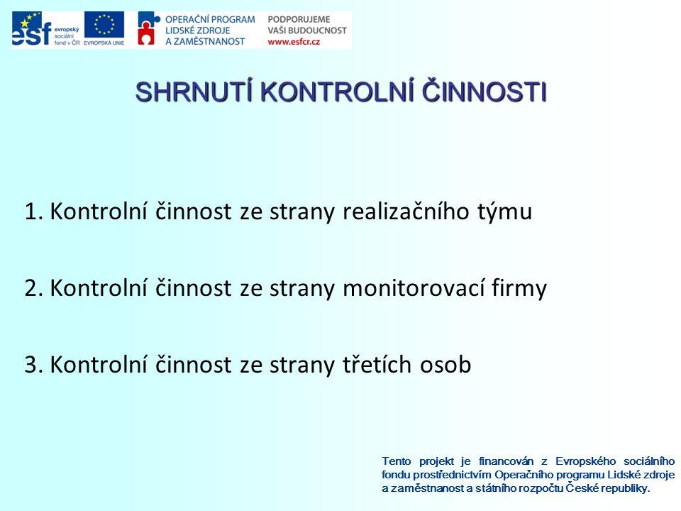 SHRNUTÍ KONTROLNÍ ČINNOSTI Tento projekt je financován z Evropského sociálního fondu prostřednictvím Operačního programu Lidské zdroje a zaměstnanost a státního rozpočtu České republiky.
