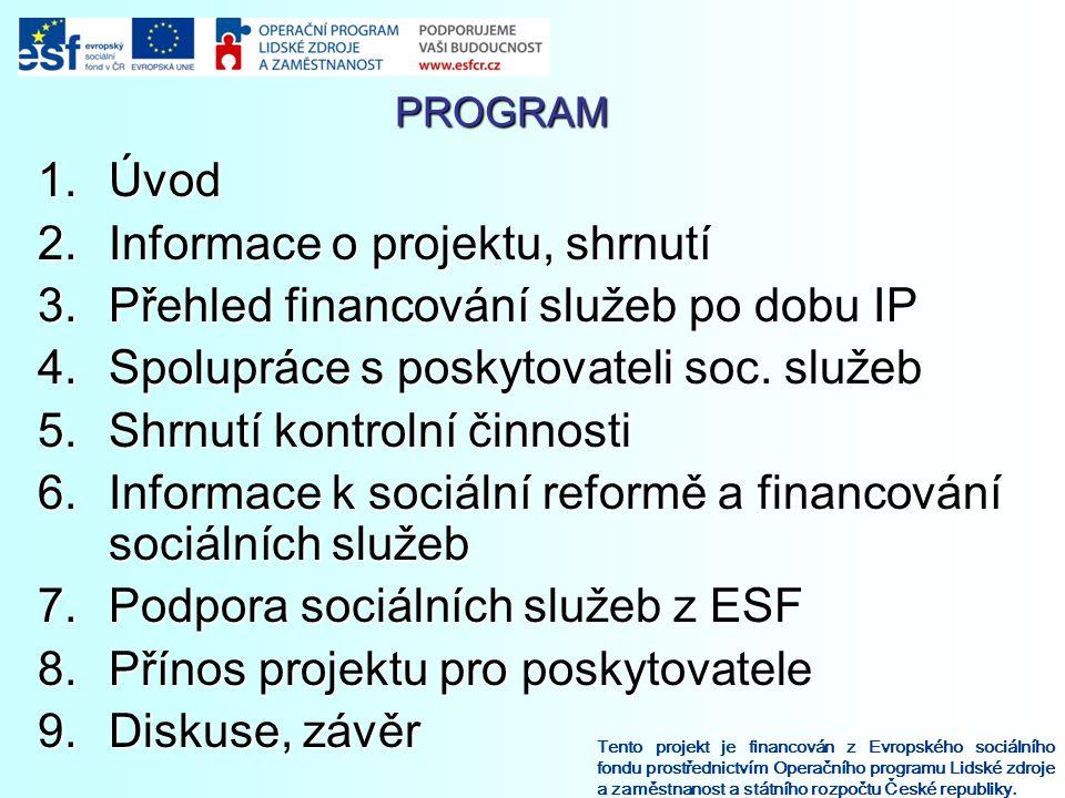 PROGRAM Tento projekt je financován z Evropského sociálního fondu prostřednictvím Operačního programu Lidské zdroje a zaměstnanost a státního rozpočtu České republiky.