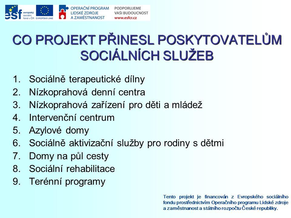 CO PROJEKT PŘINESL POSKYTOVATELŮM SOCIÁLNÍCH SLUŽEB Tento projekt je financován z Evropského sociálního fondu prostřednictvím Operačního programu Lidské zdroje a zaměstnanost a státního rozpočtu České republiky.