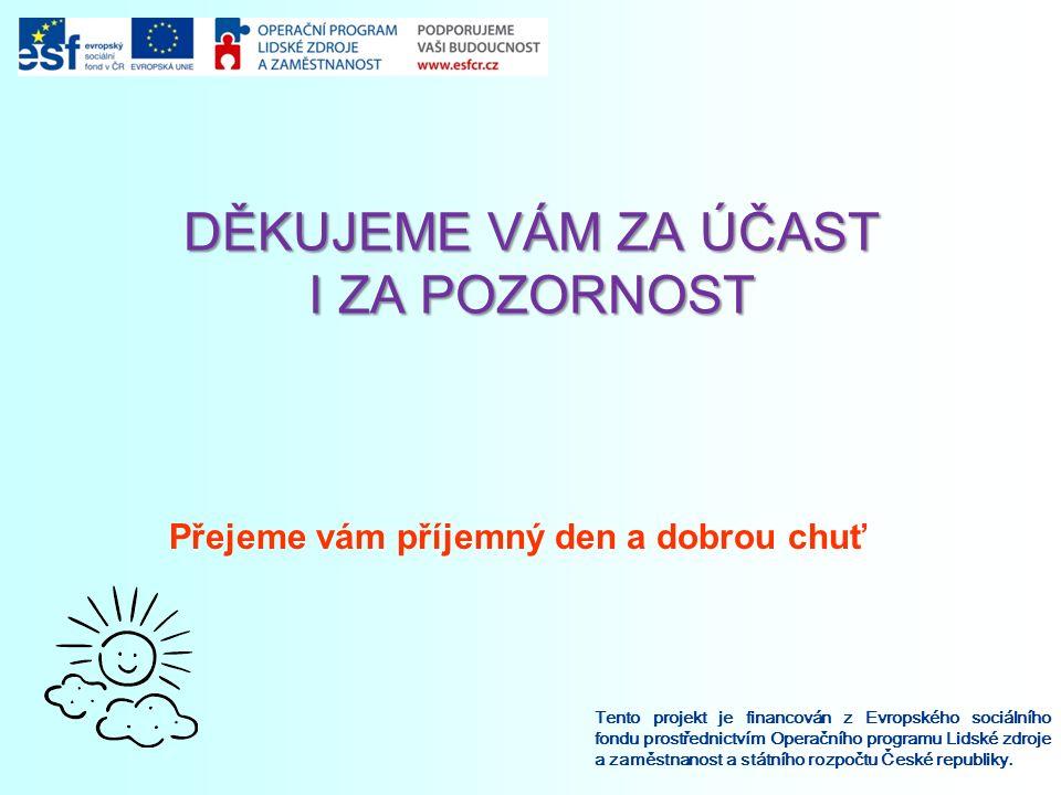 DĚKUJEME VÁM ZA ÚČAST I ZA POZORNOST Tento projekt je financován z Evropského sociálního fondu prostřednictvím Operačního programu Lidské zdroje a zam
