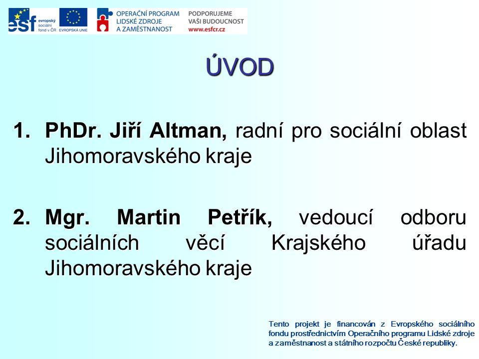 ÚVOD Tento projekt je financován z Evropského sociálního fondu prostřednictvím Operačního programu Lidské zdroje a zaměstnanost a státního rozpočtu České republiky.