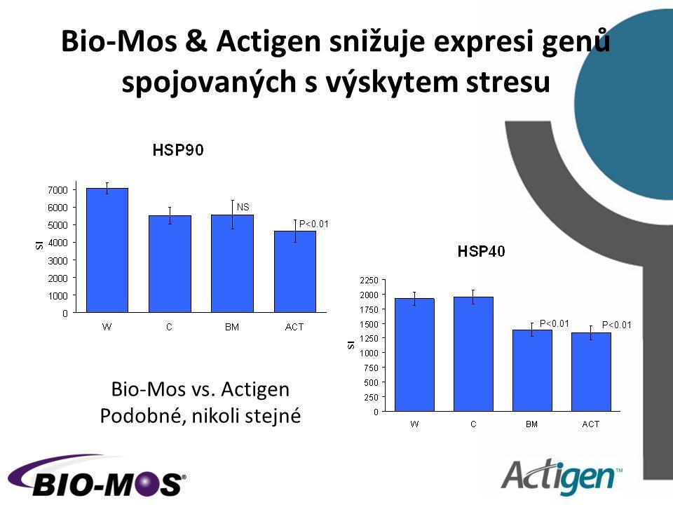 Bio-Mos & Actigen snižuje expresi genů spojovaných s výskytem stresu NS P<0.01 Bio-Mos vs. Actigen Podobné, nikoli stejné