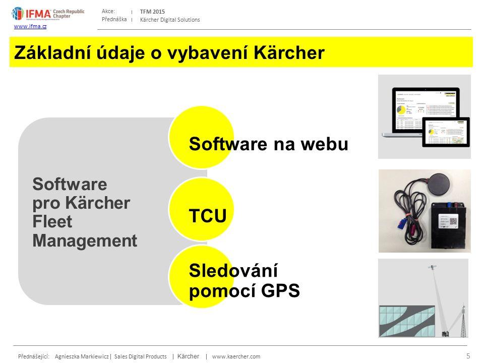 Přednáška Akce: Přednášející: Agnieszka Markiewicz | Sales Digital Products | Kärcher | www.kaercher.com TFM 2015 www.ifma.cz Kärcher Digital Solutions Základní údaje o vybavení Kärcher 5 Software pro Kärcher Fleet Management Software na webu TCU Sledování pomocí GPS