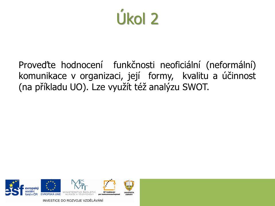Úkol 1 S využitím analýzy SWOT proveďte hodnocení funkčnosti oficiálních komunikačních toků v organizaci (UO) ve vztahu k cílové skupině studenti 1.