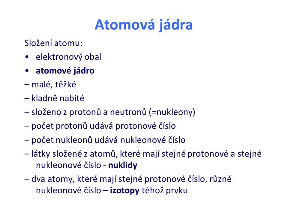 Atomová jádra Složení atomu: elektronový obal atomové jádro – malé, těžké – kladně nabité – složeno z protonů a neutronů (=nukleony) – počet protonů u