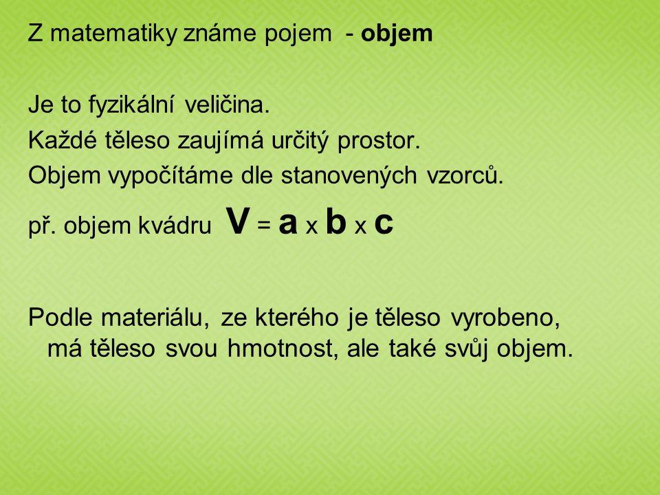 Z matematiky známe pojem - objem Je to fyzikální veličina. Každé těleso zaujímá určitý prostor. Objem vypočítáme dle stanovených vzorců. př. objem kvá