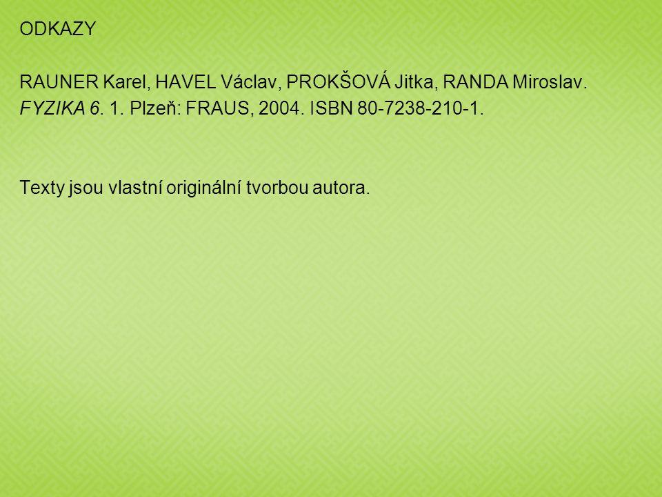 ODKAZY RAUNER Karel, HAVEL Václav, PROKŠOVÁ Jitka, RANDA Miroslav. FYZIKA 6. 1. Plzeň: FRAUS, 2004. ISBN 80-7238-210-1. Texty jsou vlastní originální