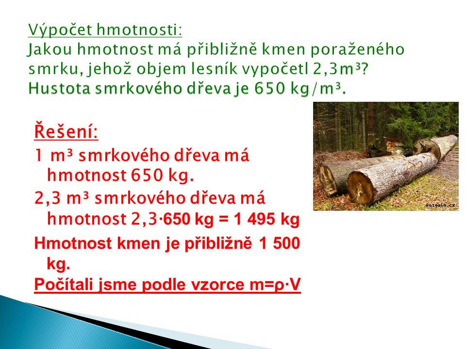 Řešení: 1 m³ smrkového dřeva má hmotnost 650 kg.