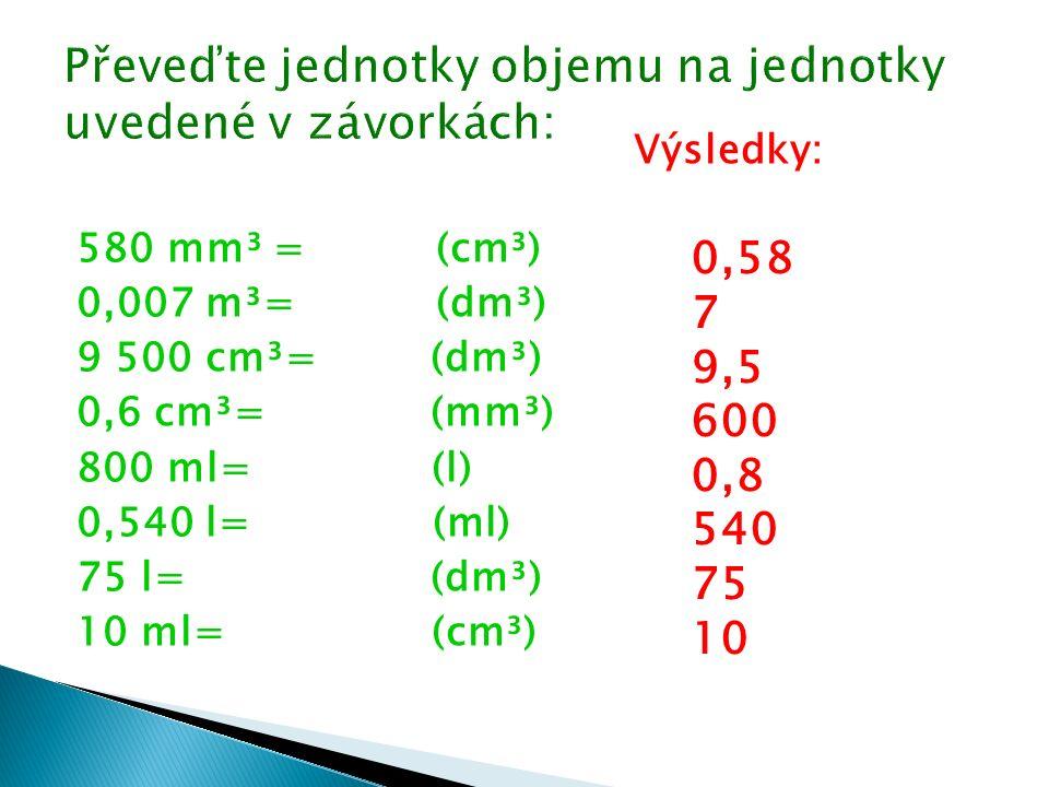 2,50 g/cm³= (kg/m³) 0,879 g/cm³= (kg/m³) 1 000 kg/m³= (g/cm³) 21 600 kg/m³= (g/cm³) Výsledky: 2 500 879 1 21,6