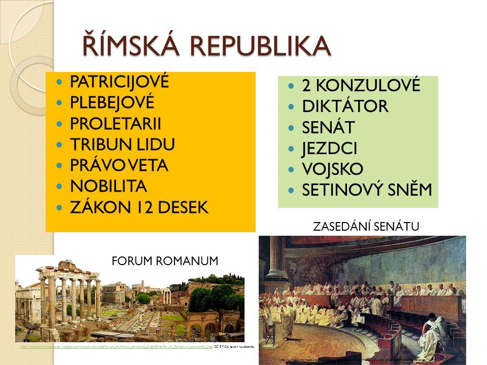 ŘÍMSKÁ REPUBLIKA PATRICIJOVÉ PLEBEJOVÉ PROLETARII TRIBUN LIDU PRÁVO VETA NOBILITA ZÁKON 12 DESEK 2 KONZULOVÉ DIKTÁTOR SENÁT JEZDCI VOJSKO SETINOVÝ SNĚ