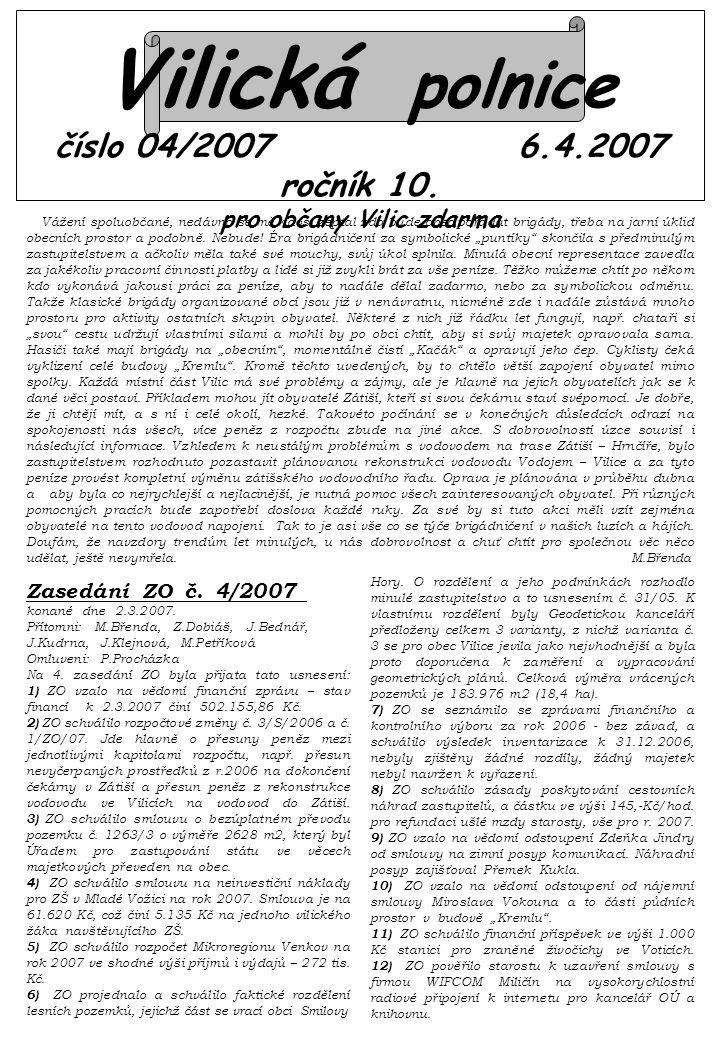 Vilická polnice číslo 04/2007 6.4.2007 ročník 10.