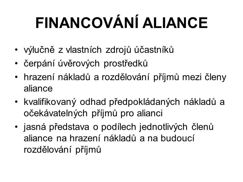 FINANCOVÁNÍ ALIANCE výlučně z vlastních zdrojů účastníků čerpání úvěrových prostředků hrazení nákladů a rozdělování příjmů mezi členy aliance kvalifikovaný odhad předpokládaných nákladů a očekávatelných příjmů pro alianci jasná představa o podílech jednotlivých členů aliance na hrazení nákladů a na budoucí rozdělování příjmů