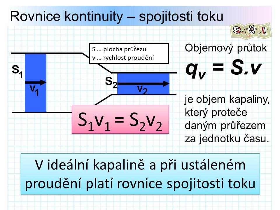 Rovnice kontinuity – spojitosti toku V ideální kapalině a při ustáleném proudění platí rovnice spojitosti toku Objemový průtok q v = S.v je objem kapaliny, který proteče daným průřezem za jednotku času.