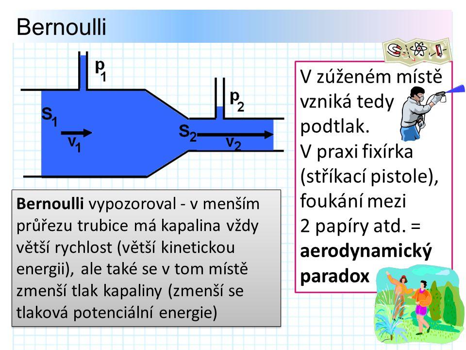 Bernoulli V zúženém místě vzniká tedy podtlak.