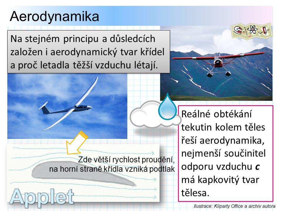 Aerodynamika Reálné obtékání tekutin kolem těles řeší aerodynamika, nejmenší součinitel odporu vzduchu c má kapkovitý tvar tělesa.