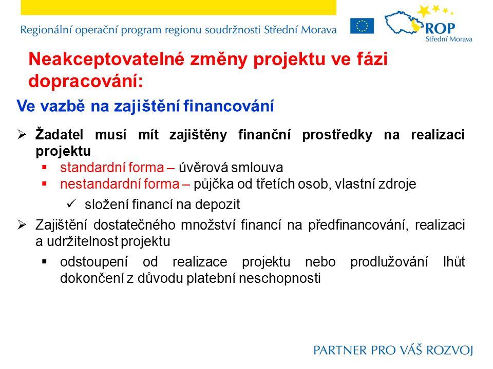 Ve vazbě na zajištění financování  Žadatel musí mít zajištěny finanční prostředky na realizaci projektu  standardní forma – úvěrová smlouva  nestan