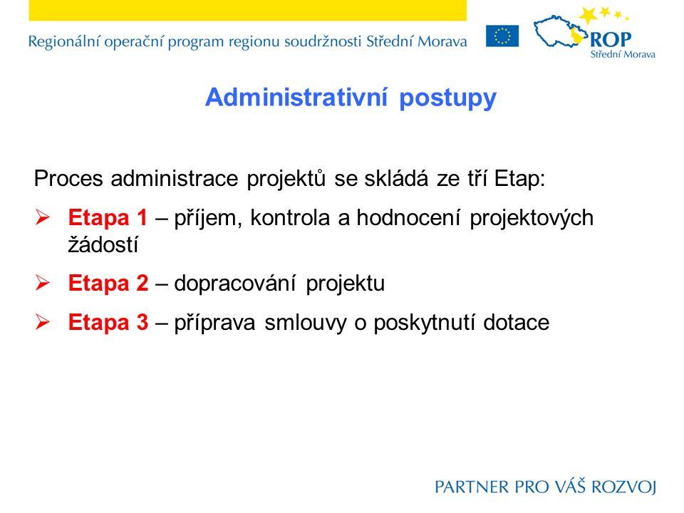 Proces administrace projektů se skládá ze tří Etap:  Etapa 1 – příjem, kontrola a hodnocení projektových žádostí  Etapa 2 – dopracování projektu  Etapa 3 – příprava smlouvy o poskytnutí dotace Administrativní postupy