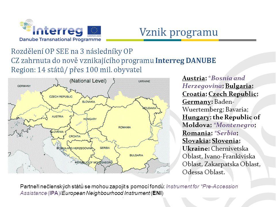 Rozdělení OP SEE na 3 následníky OP CZ zahrnuta do nově vznikajícího programu Interreg DANUBE Region: 14 států/ přes 100 mil.