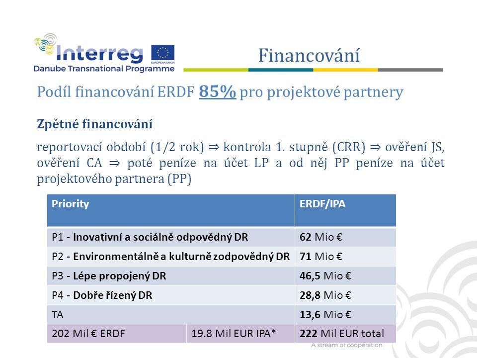 Financování Podíl financování ERDF 85% pro projektové partnery Zpětné financování reportovací období (1/2 rok) ⇒ kontrola 1.