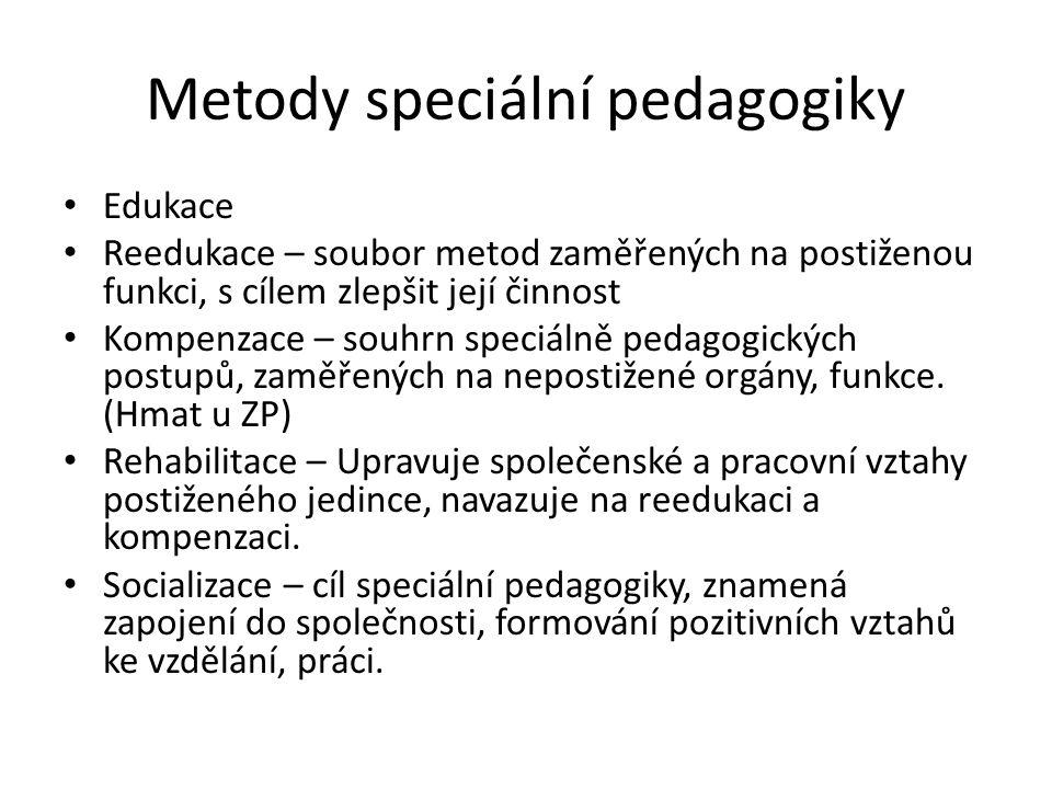 Metody speciální pedagogiky Edukace Reedukace – soubor metod zaměřených na postiženou funkci, s cílem zlepšit její činnost Kompenzace – souhrn speciál