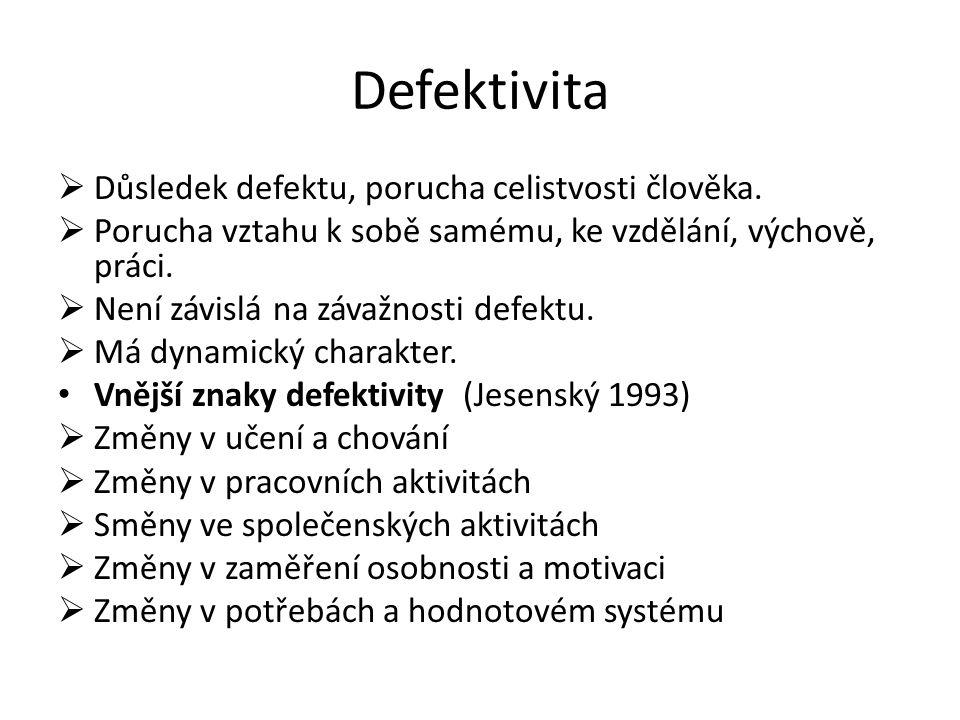 Defektivita  Důsledek defektu, porucha celistvosti člověka.  Porucha vztahu k sobě samému, ke vzdělání, výchově, práci.  Není závislá na závažnosti