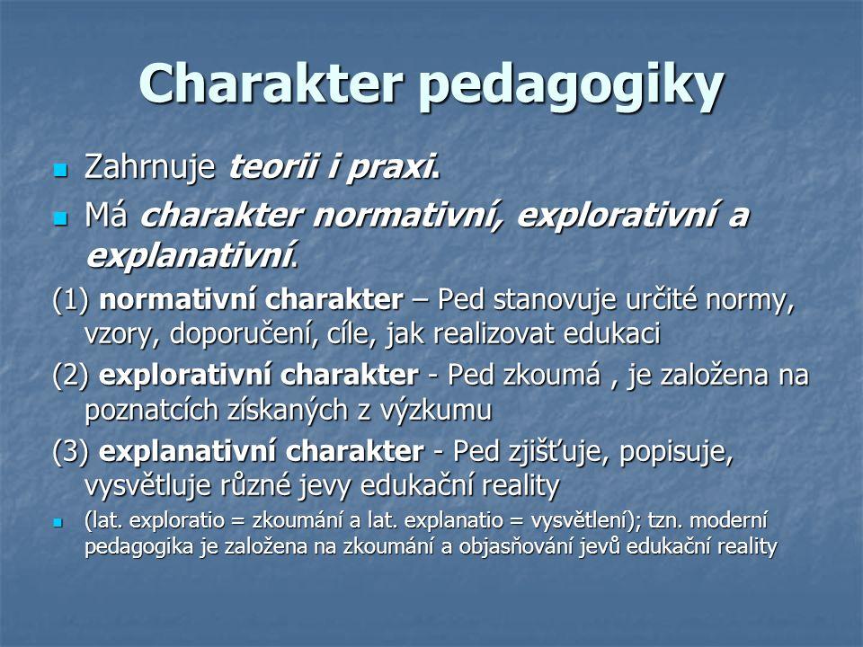 Charakter pedagogiky Zahrnuje teorii i praxi. Zahrnuje teorii i praxi.