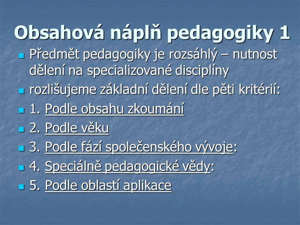 Obsahová náplň pedagogiky 1 Předmět pedagogiky je rozsáhlý – nutnost dělení na specializované disciplíny Předmět pedagogiky je rozsáhlý – nutnost dělení na specializované disciplíny rozlišujeme základní dělení dle pěti kritérií: rozlišujeme základní dělení dle pěti kritérií: 1.