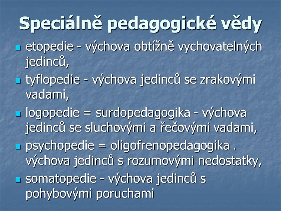 Speciálně pedagogické vědy etopedie - výchova obtížně vychovatelných jedinců, etopedie - výchova obtížně vychovatelných jedinců, tyflopedie - výchova jedinců se zrakovými vadami, tyflopedie - výchova jedinců se zrakovými vadami, logopedie = surdopedagogika - výchova jedinců se sluchovými a řečovými vadami, logopedie = surdopedagogika - výchova jedinců se sluchovými a řečovými vadami, psychopedie = oligofrenopedagogika.