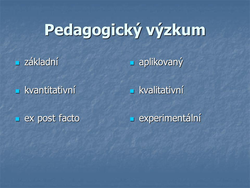 Pedagogický výzkum základní základní kvantitativní kvantitativní ex post facto ex post facto aplikovaný aplikovaný kvalitativní kvalitativní experimentální experimentální