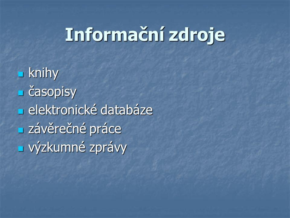 Informační zdroje knihy knihy časopisy časopisy elektronické databáze elektronické databáze závěrečné práce závěrečné práce výzkumné zprávy výzkumné zprávy