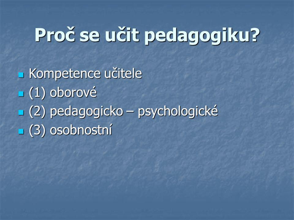 Kompetence učitele Kompetence učitele (1) oborové (1) oborové (2) pedagogicko – psychologické (2) pedagogicko – psychologické (3) osobnostní (3) osobnostní