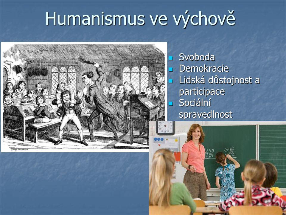 Humanismus ve výchově Svoboda Svoboda Demokracie Demokracie Lidská důstojnost a participace Lidská důstojnost a participace Sociální Sociálníspravedlnost