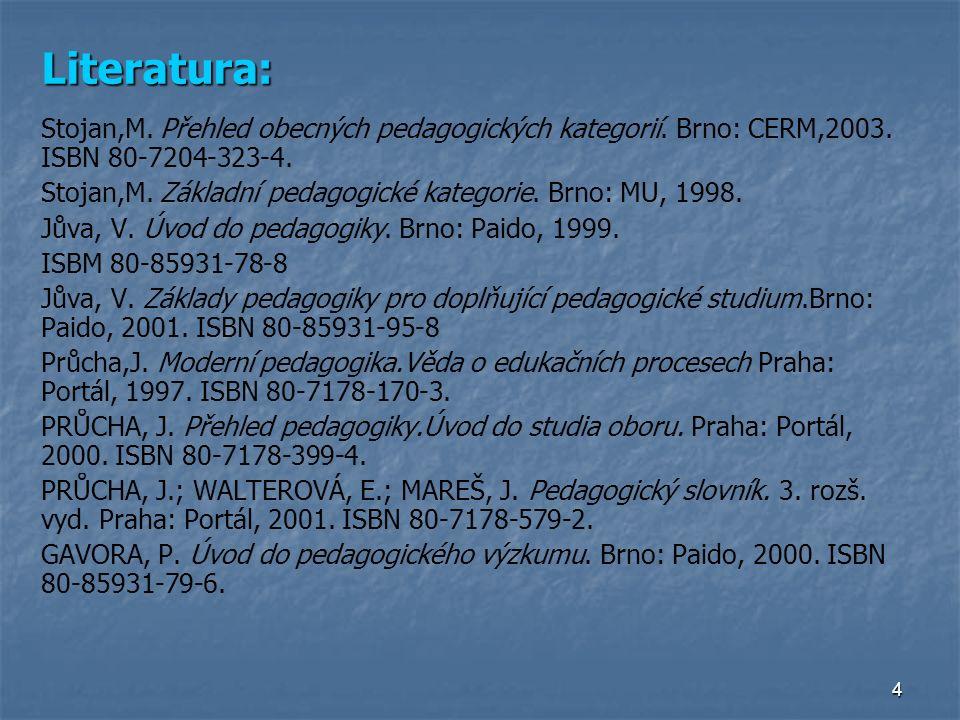 4 Literatura: Stojan,M. Přehled obecných pedagogických kategorií.