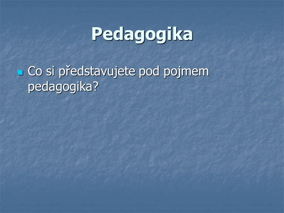 Pedagogika Co si představujete pod pojmem pedagogika? Co si představujete pod pojmem pedagogika?