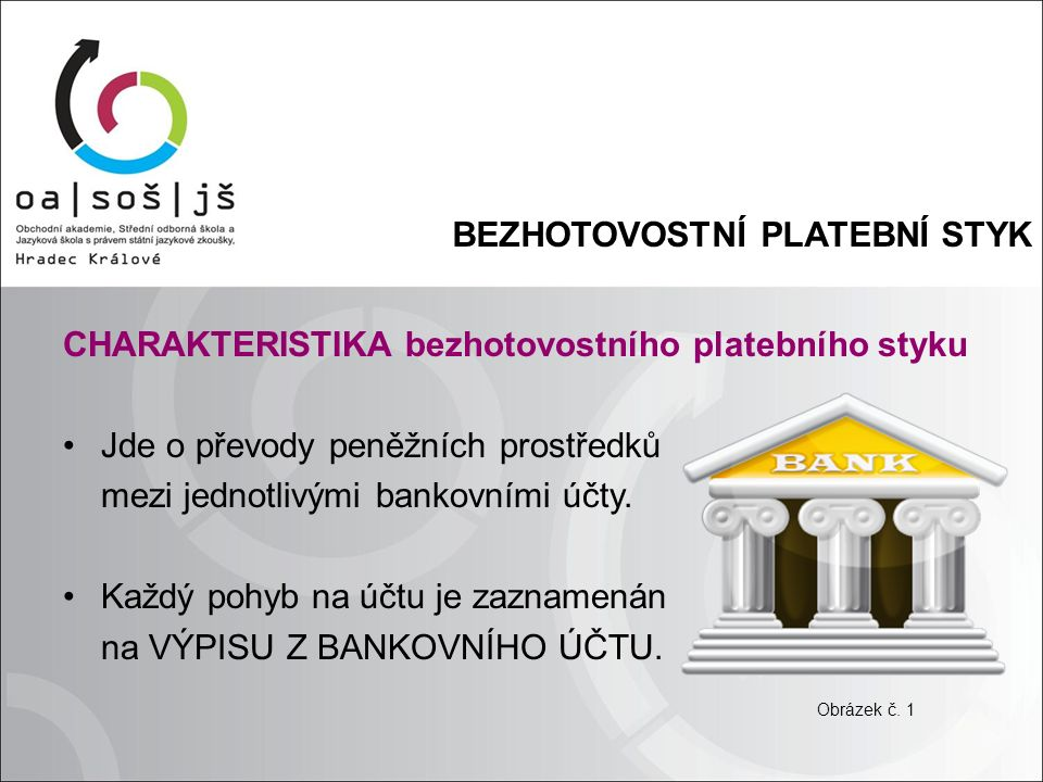 BEZHOTOVOSTNÍ PLATEBNÍ STYK CHARAKTERISTIKA bezhotovostního platebního styku Jde o převody peněžních prostředků mezi jednotlivými bankovními účty.