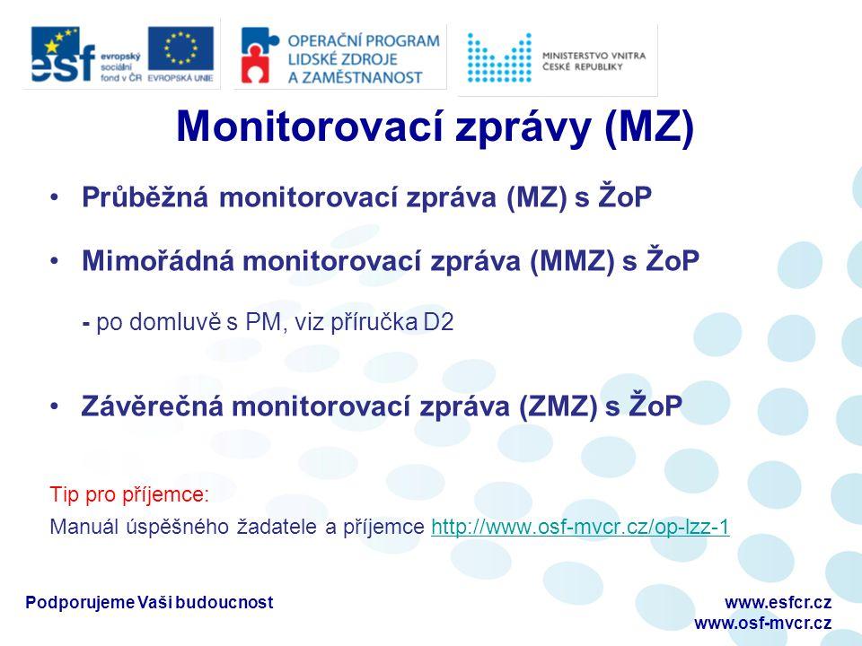 Monitorovací zprávy (MZ) Průběžná monitorovací zpráva (MZ) s ŽoP Mimořádná monitorovací zpráva (MMZ) s ŽoP - po domluvě s PM, viz příručka D2 Závěrečná monitorovací zpráva (ZMZ) s ŽoP Tip pro příjemce: Manuál úspěšného žadatele a příjemce http://www.osf-mvcr.cz/op-lzz-1http://www.osf-mvcr.cz/op-lzz-1 Podporujeme Vaši budoucnostwww.esfcr.cz www.osf-mvcr.cz