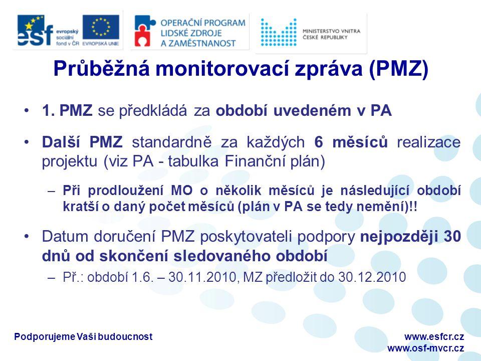 Průběžná monitorovací zpráva (PMZ) 1.