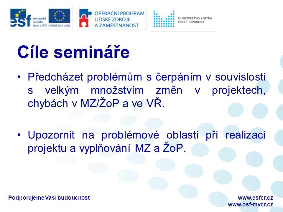 Cíle semináře Předcházet problémům s čerpáním v souvislosti s velkým množstvím změn v projektech, chybách v MZ/ŽoP a ve VŘ.